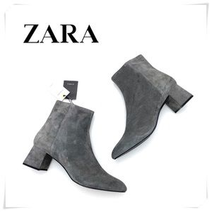 NWT Zara Authentic Suede Ankle Boots Charcoal Gray